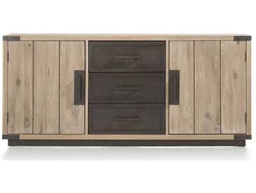 Habufa Station Sideboard mit 3 Schubladen Metallfront und 2 Türen Eiche teilmassiv mit Absetzung in Metall für Ihr Wohnzimmer oder Esszimmer
