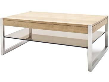 MCA Furniture Couchtisch Migel 58861AZ7 aus Asteiche massiv Sicherheitsglas bronze farbig  für Ihr Wohnzimmer