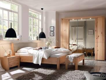 Thielemeyer Pura Schlafzimmer Front und Korpus aus Naturbuche Massivholz Komfort-Liegenbett mit Kunstlederfüllung Farbe wählbar 5-türiger Kleiderschrank optional mit Bettbank, Konsolen und Beleuchtung