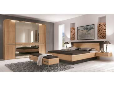 Thielemeyer Casa Massivholz Schlafzimmer Komfort Liegenbett Kunstlederkopfteil dunkelbraun mit Holzfüllung Kleiderschrank mit Spiegel 2 Hängekonsolen