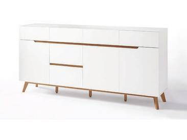 MCA furniture Cervo Sideboard 48645WE5 weiß matt lackiert für Wohnzimmer oder Esszimmer mit 3 Türen und 6 Schüben Absetzung Asteiche