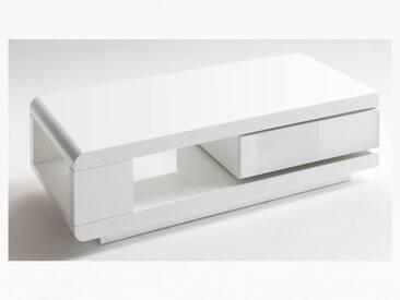 MCA Furniture Couchtisch Art.Nr.: 59031WW4 in Hochglanz weiß lackiert mit zusätzlicher Ablage und Schubkasten für Ihr Wohnzimmer