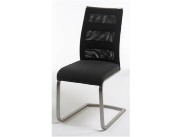 MCA Freischwinger Candela 2er Set Rücken Netzbespannung in Streifenoptik mit Metallapplikation Bezug Sitz Feingewebe Ausführung wählbar Wohnzimmer Esszimmer Furniture
