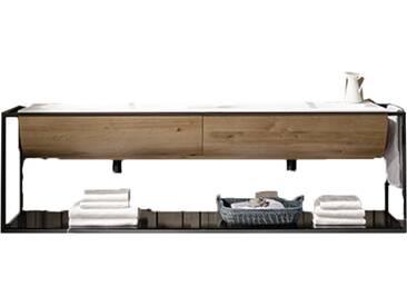 Voglauer V-Quell Badezimmer-Einrichtung Badkombination mit Doppelwaschtischunterschrank und Doppel-Möbelwaschtisch Korpus und Front Alteiche rustiko echtholzfurniert