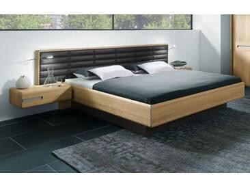 Thielemeyer Casa Massivholz Bett Ehebett Komfort Liegenbett mit Kassetten Kunstlederkopfteil dunkelbraun mit Passepartout Rahmen