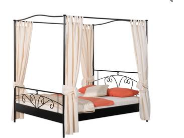 Neue Modular Punto Olbia Himmelbett aus Metall in schwarz matt lackiert inklusive Vorhänge in beige Liegefläche ca. 180x200 cm optional mit passenden Nachttischen Olbia