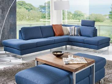 Willi Schillig Sofa in L-Form AleXx 22850 Ecksofa bestehend aus: Sofa mit Hocker + Ecksofa mit Hocker + Hocker inklusive einer Steckkopfstütze in einem blauen Q2 Stoffbezug und mit glänzenden Metallkufen