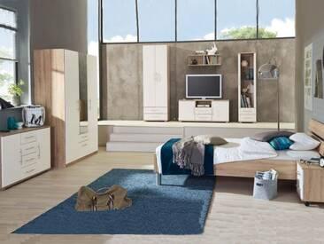 Priess Varia komplettes Schlafzimmer bestehend aus Bett  3-türiger Kleiderschrank Nachtschrank mit 2 Schubkästen