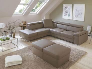Polinova Couchgarnitur Calisto L 2,5-Sitzer 1,5-Sitzer Kombielement inklusive Rückenverstellung in Echtleder Couch spiegelverkehrt lieferbar Ausführung Hocker wählbar