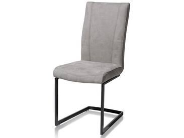 Habufa Sofie Freischwinger 29743 für Ihr Esszimmer Schwingstuhl mit Metallgestell rechteckig schwarz mit rechteckigem Handgriff an der Rückenlehne und mit Stoffbezug Savannah Farbe wählbar