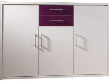 Priess Riva Kommoden-Element mit 2 Türen und 2 Schubkästen in Lichtweiss mit Absetzungen in Glas Brombeer