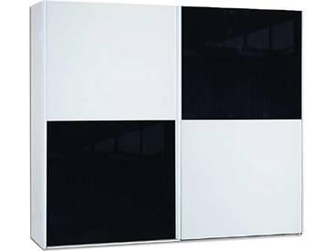 Neue Modular Primolar Sasso 2-türiger Schwebetürenschrank in Dekor weiss mit 2 Tür-Paneele in Dekor weiss und 2 Tür-Paneele in Glas schwarz