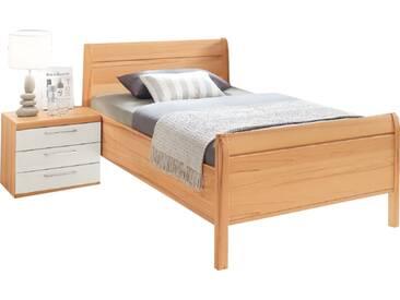 Disselkamp Linea Plus Bett Luxushöhe mit Stollen Kopfteil und 1 Nachtkonsole Korpus in Kernbuche Farbabsetzung Hochglanz- Weiß