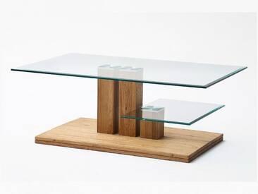 MCA Furniture Paco Couchtisch Art.Nr.: 58797A14 3 Säulen Gestell in Asteiche Massivholz Tischplatte Glas zusätzliche Ablage Glas Fuß in Asteiche Massivholz für Ihr Wohnzimmer