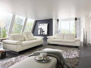 Willi Schillig zwei Einzelsofas Joyzze Plus 15651 Sofas in zwei unterschiedlichen Größen Type NL60 und Type NL75 inkl. Sitztiefenverstellung & Seitenteilverstellung Sofa Type NL75 besitzt zusätzlich noch eine Kopfstützenverstellung Bezug Leder weiß Z59_42 glänzende Metallkufe F7S