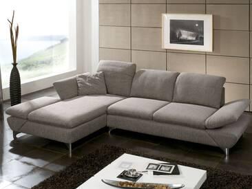 Schillig Willi Ecksofa Taoo 15278 bestehend aus Longchair mit Doppelseitenteil + Sofa groß integrierte Sitztiefenverstellung flexible Seitenteil- und Kopfteilverstellung inklusive ein Seitenteilkissen Bezug Q2 Stoff im Farbton Stein und glänzende Metallfüße