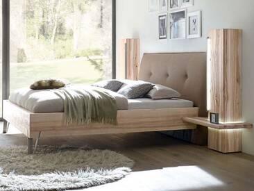 Thielemeyer Cubo Komfort-Liegenbett in Korpusausführung Wildesche oder Wildeiche Massivholz mit Lodenkopfteil Farbe wählbar optional mit Hochschränken und Beleuchtung
