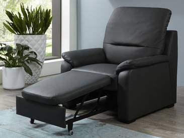 Polinova Sessel mit ausziehbarem Hocker Monroe inklusive Rückenverstellung in Echtleder Ausführung wählbar Rücken echt bezogen