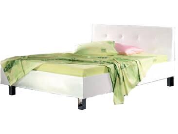 Neue Modular Primolar Lizzano Bett bestehend aus Bettrahmen mit Polsterkopfteil Ancona in weiß und Eckfüßen verchromt Liegefläche ca. 180x200 cm