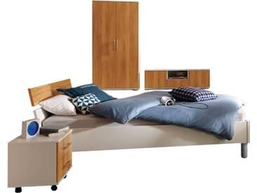 Priess Varia komplettes Schlafzimmer bestehend aus Bett  3-türiger Kleiderschrank Nachtschränke mit 2 Schubkästen, TV-Unterbau