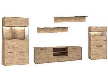 Dkk Klose Kollektion K20 Kastenmöbel Beispielkombination 2 Wohnwand 5-teilig Kombination Wildeiche furniert geölt oder Wachseffektlack Anbauwand für Wohnzimmer oder Esszimmer mit Vitrine Highboard und TV-Board Zubehör wählbar