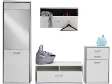 MCA Furniture Trento Garderobenkombination 4 Front Hochglanz weiß Korpus weiß Nachbildung mit Rahmen in Edelstahloptik für Ihren Eingangsbereich