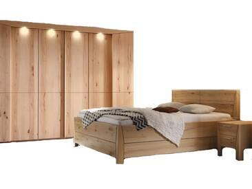 Thielemeyer Pura Schlafzimmer 2-teilig mit Komfort-Kastenbett mit Kopfteil mit Holzfüllung und 6-türigem Drehtürenschrank in der Korpus- und Frontausführung Naturbuche Massivholz optional mit Hochkonsolen und LED-Kranz-Beleuchtung für Drehtürenschränke