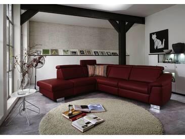 Polinova Ecksofa Clou L 2,5-Sitzer und 1,5-Sitzer Kombielement mit Anstellhocker inklusive Kopfpolsterverstellung in Echtleder Couch spiegelverkehrt lieferbar Ausführung wählbar