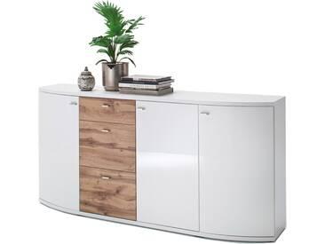 MCA Furniture Livorno LIV99T01 Sideboard für Ihr Wohnzimmer Hochglanz weiß tiefzieh Nachbildung mit Absetzung Wotan Eiche
