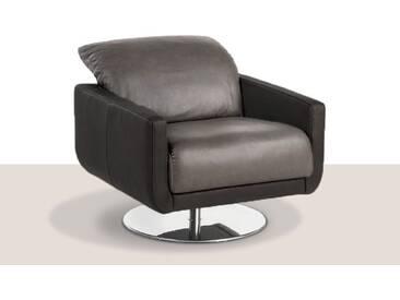 Willi Schillig Sessel Mademoiselle 29600 zweifarbiger Ledersessel mit flexiblen Kopfteil schwarzer Korpus LK60 Z77_99 und graphitfarbene Sitz- & Rückenfläche LK60 Z79_94 drehbar mit chromglänzenden Tellerfuß