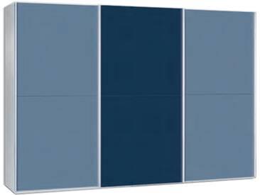 Neue Modular Primolar Rimini 3-türiger Schwebetürenschrank Korpus alufarbig mit 4 Tür-Paneelen in RAL-Farbe taubenblau und 2 Tür-Paneele in RAL-Farbe saphirblau optional mit Dämpfer