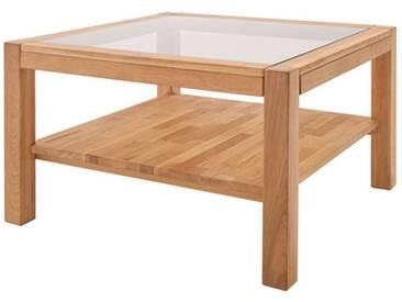 MCA Furniture Couchtisch Madlen 58838EI1 aus Asteiche massiv Sicherheitsglas bronze farbig für Ihr Wohnzimmer