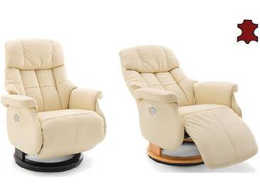 MCA furniture Calgary Relaxsessel XL Comfort elektrisch 64037 Relaxer Leder/PVC creme Gestell und Drehteller aus Formholz