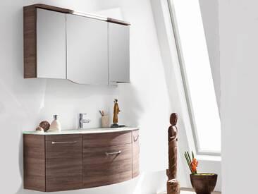 Pelipal Huevo 14 Badmöbel Badblock mit Glaswaschtisch , Spiegelschrank, Unterschrank ca. 1300 mm