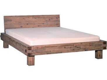 Neue Modular Punto San Marcos Bett aus Massivholz in Akazie mit besonderen Verfahren sandgestrahlt und gebeizt Liegefläche ca. 180x200 cm