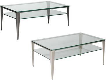 Vierhaus Couchtisch Modern Steel mit klarer Glas-Tschplatte und Glasablage, Gestell aus Vollstahl Winkelstollen konisch, Farbe wählbar 6340- oder 6345-GKL