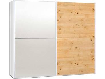 Neue Modular Primolar Sasso 2-türiger Schwebetürenschrank Korpus Dekor weiss mit 2 Spiegel-Paneelen und 2 Tür-Paneele Wildeiche furniert optional mit Dämpfer