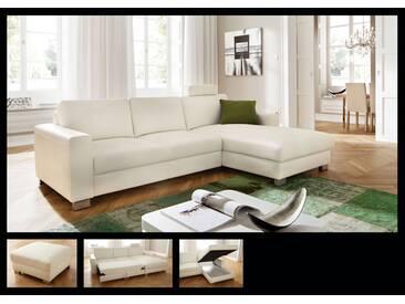 Candy Seaside Sofagarnitur Ecksofa 2-Sitzer und Longchair Polstergarnitur Couch für Wohnzimmer Sofa in Bezug Stoff oder Leder wählbar ohne Funktion
