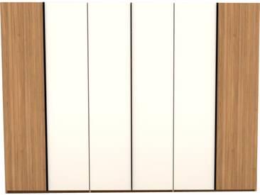 Thielemeyer Loft Drehtürenschrank 6-türig Korpus und Front aus Eiche Massivholz mit 4 Mitteltüren in Colorglas weiß