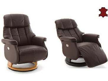 MCA furniture Calgary Relaxsessel XL Comfort elektrisch 64037 Relaxer aus Leder/PVC braun Gestell und Drehteller aus Formholz