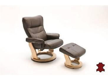 MCA furniture Montreal Relaxsessel 64022BN5 Relaxer aus Rindsleder incl. Hocker Gestell und Drehteller naturfarben