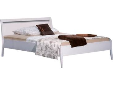 Neue Modular Primolar Sils Bett mit niedrigem Fußteil Buche Massivholz in weiss Liegefläche und Nachttisch Parsenn wählbar