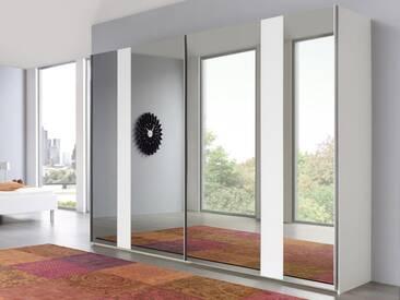 Nolte Arago 5 Schwebetürenschrank Kleiderschrank Polarweiß und Grauspiegel mit Glasstreifen wählbar