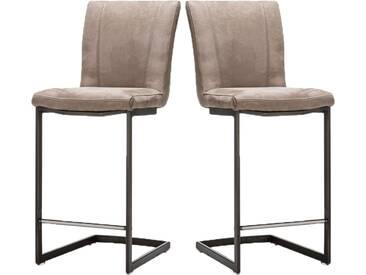 Habufa Sono Tresenstuhl mit Metallgestell im 2er Set Barstuhl für Ihr Esszimmer oder Partyzimmer Tresenstuhl mit Schwing-Gestell Gestellausführung wählbar Lederbezug oder Ledermix wählbar wahlweise mit Handgriff an der Rückenlehne
