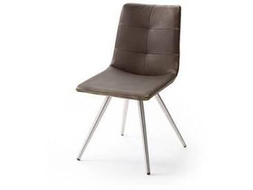 MCA Alessia 2er Set Stuhl Ausführung G mit Bezug Vintage braun aus Kunstleder und mit Doppelnaht, mit Griff schwarz lackiert an der Rückenlehne hinten, für Speisezimmer Esszimmer Wohnzimmer furniture