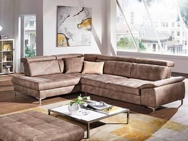 Dietsch Family Relax FR5 Eckkombinationa im braunen Stoffbezug mit Sitztiefenverstellung