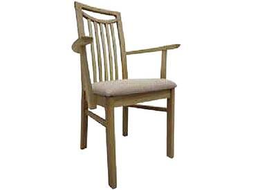 Dkk Klose Kollektion Sessel Take 5 aus Massivholz mit Armlehnen mit Holzrücken mit Längsstreben und Griff für Küche oder Speisezimmer mit gepolstertem Sitz mit Schaumstoff oder NOSAG-Wellenpolster erhältlich in großer Gestellauswahl und Bezugsvielfalt Stoff oder Leder
