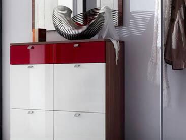 Wittenbreder Multi Color UNA Schuh Klappschrank Schuhschrank Garderobenschrank Schrank Korpus Nussbaum Front Weiss HG und Rot HG