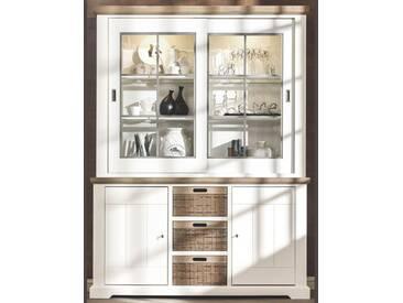 Habufa Mallorca Buffetschrank 27925WIT mit zwei Glastüren zwei Türen und drei Schubladen inklusive LED Beleuchtung für Ihr Wohnzimmer oder Esszimmer