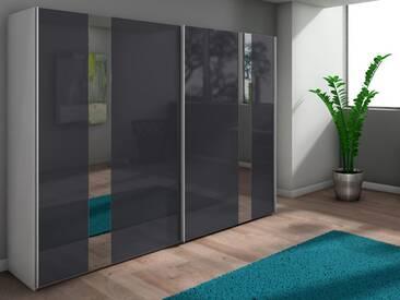 Nolte Arago 5 Schwebetürenschrank Kleiderschrank Polarweiß und Graphitglas mit Glasstreifen wählbar